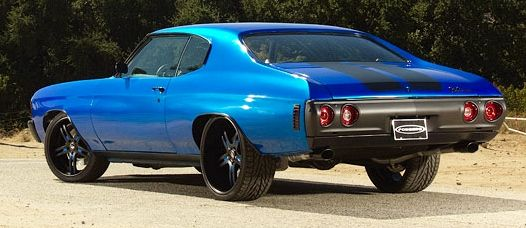 Black and Blue 1972 Chevy Chevelle from Forgiato wheels.  Great color combo.
