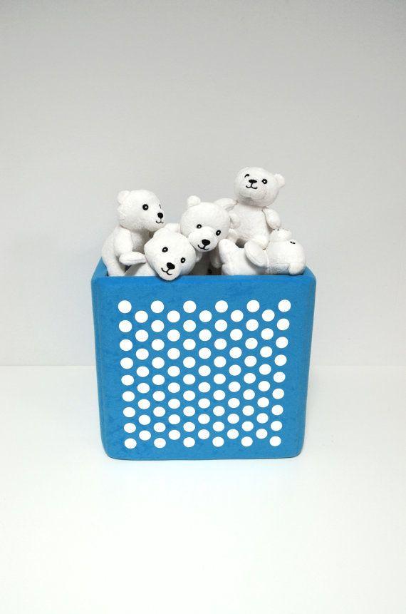 blue toy storage bin with fun design print cube basket
