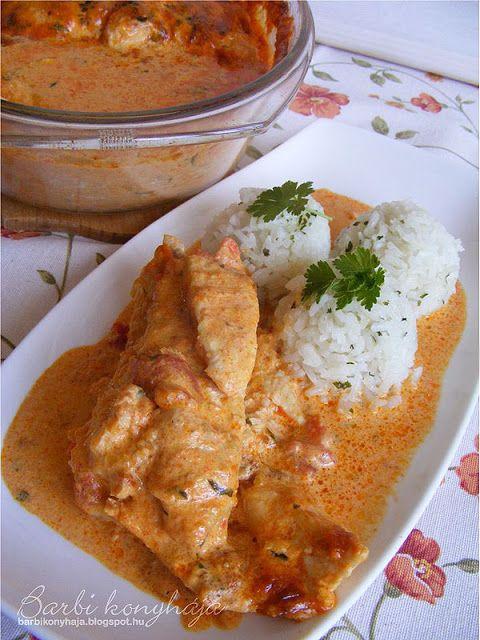 Barbi konyhája: Csirkemell gombával, paprikás-tejszínes mártásban