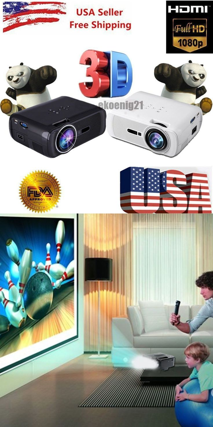 Home Theater Projectors: 7000 Lumens Full Hd 1080P Lcd 3D Vga Hdmi Tv Home Theater Projector Cinema Us By BUY IT NOW ONLY: $59.45