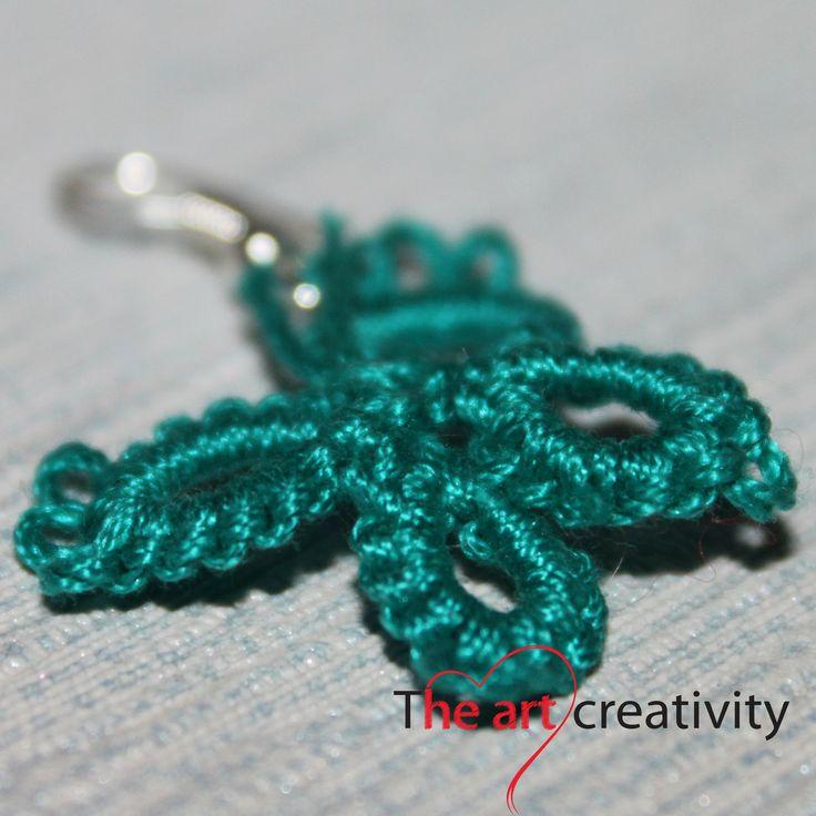 """Orecchini """"Farfalline verdi"""" realizzati con cotone verde  #orecchini #chiacchierino #handmade"""