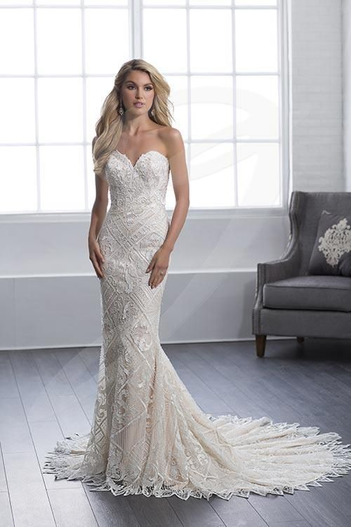 Balletts Bridal - 25421 - Wedding Gown by Jacquelin Bridals Canada - Embellished for your pleasure, this beaded lace, fit and flare, sheath wedding dress has cathedral train, a strapless sweetheart with asymmetric embroidery design, and  finished with asymmetric diamonds shape hem.