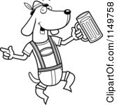 Cartoon Clipart Of A Black And White German Oktoberfest Wiener Dog Vector Outlined Coloring Page by Cory Thoman