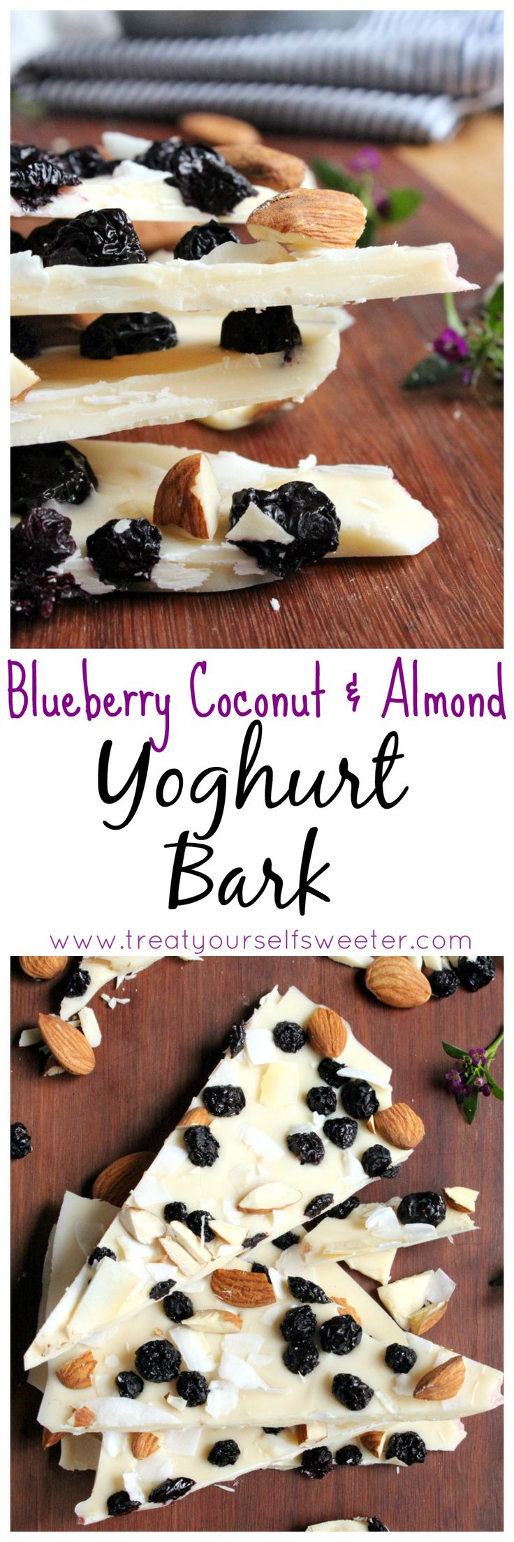 Blueberry Coconut and Almond Yoghurt Bark; the crunch of crispy, creamy yoghurt, pops of sweet blueberries, flakes of coconut and crunch of almonds. A fantastic sweet snack to crush the sweet tooth!