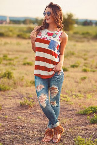 Shout Your Independence Floral Striped Tank Top - NanaMacs.com - 1
