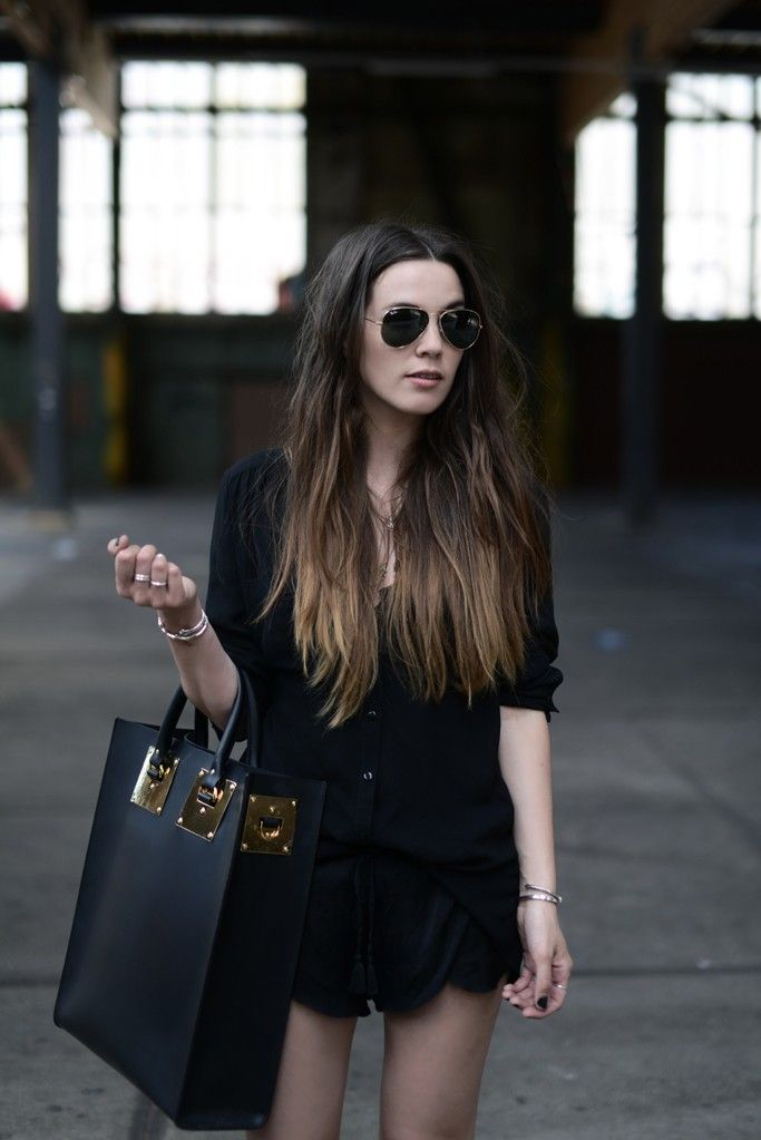 Cindy Van Der Heyden Is Wearing black blouse from Primark, tote bag from Suphie Hulme and aviator sunglasses from Rayban