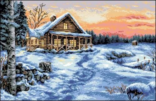 Канва с рисунком Гелиос П-068 Зимний пейзаж