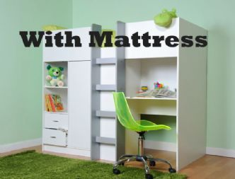 EXETER SHORTY HIGH SLEEPER CABIN BED WITH MATTRESS.