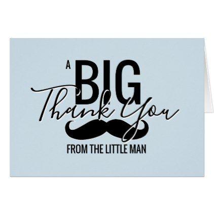 THANK YOU Little Man Baby Shower Blue Mustache Card - baby shower ideas party babies newborn gifts