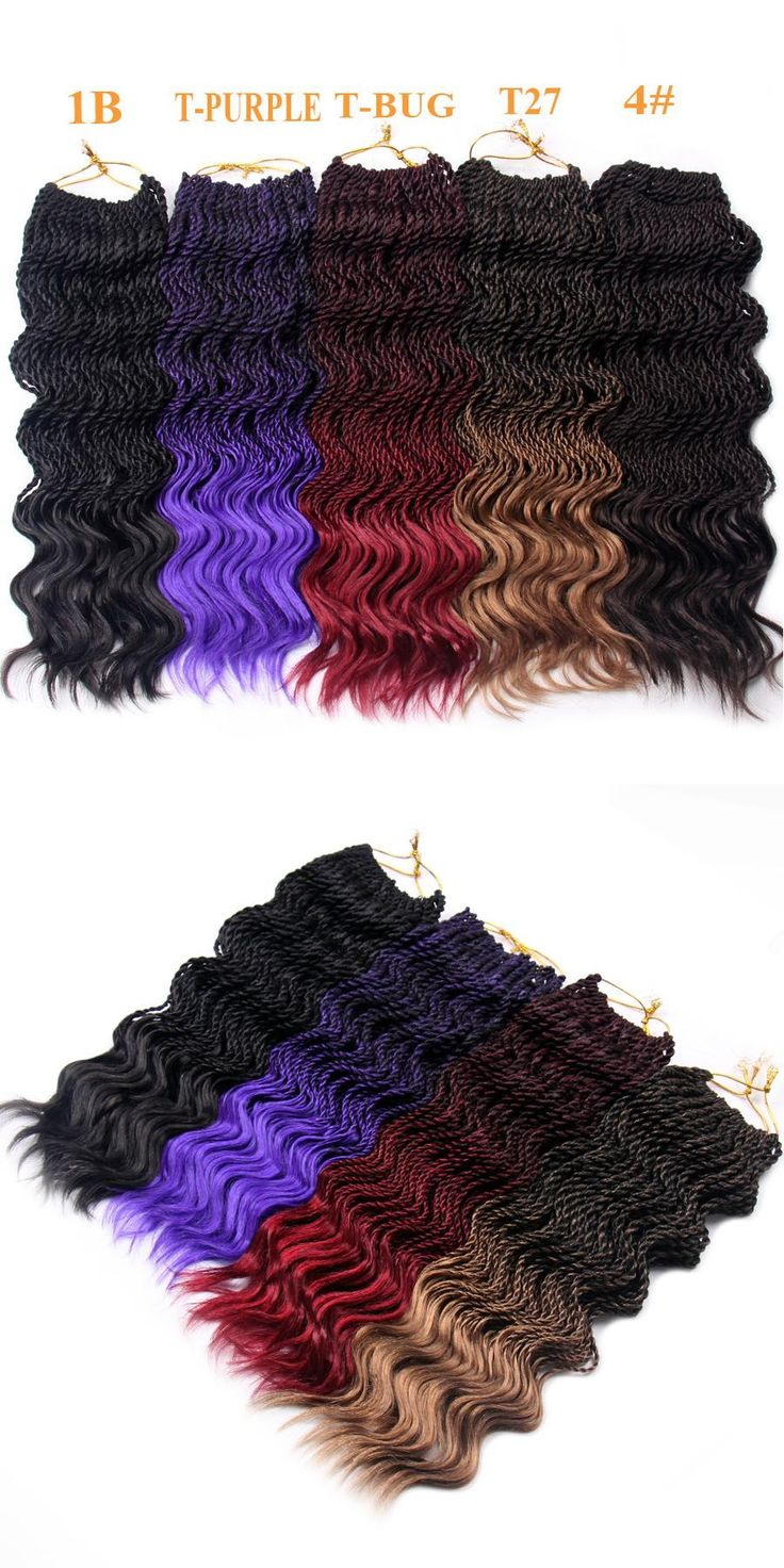FALEMEI Crochet Hair Extensions Curly Senegalese Twist Crochet Braids Hair 14Inch 75g 35Strands/Pack Kanekalon Synthetic Hair