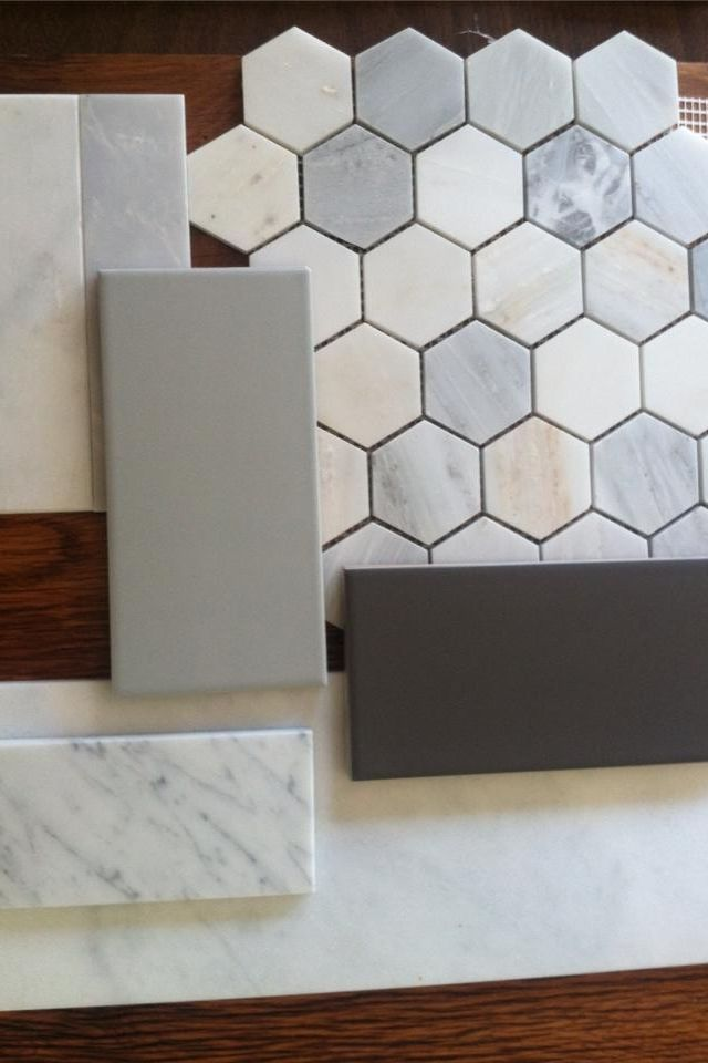 "Collamore Built | Tile Options for Master Bath: Carrara Marble 2"" Hex for floors with Grey Ceramic Subways for shower and backsplash and White Carrara Marble Countertops"
