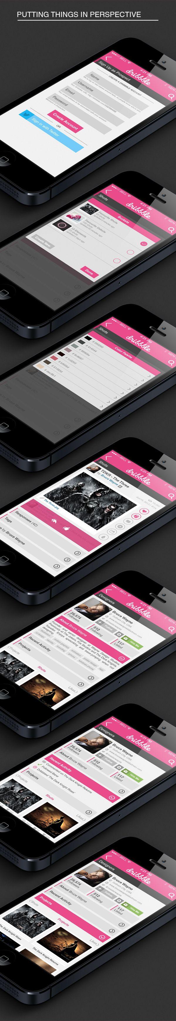 Dribbble iOS7 App - User Interface Design by Limitless Creativity, via Behance