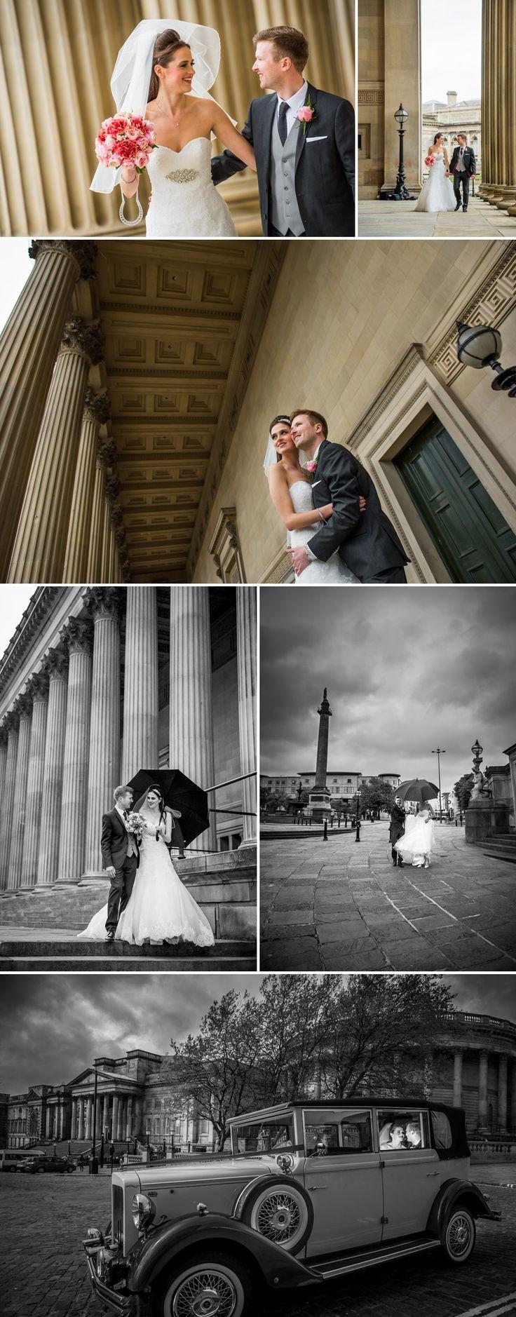 St George's Hall Wedding Photography, Liverpool, wedding car, rain. www.matthewrycraft.co.uk