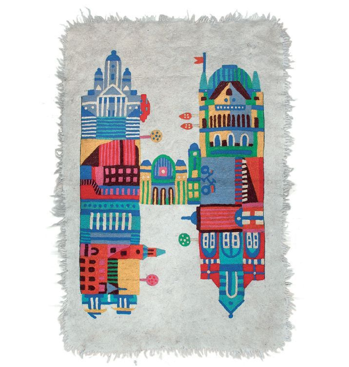 H IS FOR HELSINKI CARPET / designed by Lotta Nieminen for TIKAU / Material: Felted local wool / Size: 125 x 180 cm / Hand embroidery on wool
