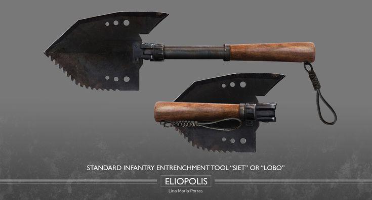 """ELIOPOLIS / Standard Infantry Entrenchment Tool """"SIET"""" or """"Lobo""""  #Eliopolis #WWZ #worldwarz #props #conceptart #weapondesign #weapon #art #siet #lobotomizer #lobo"""