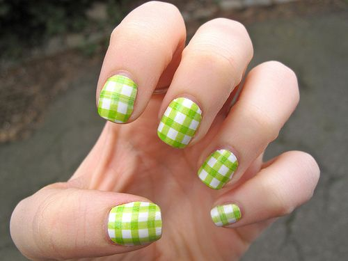 Lime Green Nail Designs   Hansen Spring Nail Strips!!! Especially this Lime Green Gingham design ...