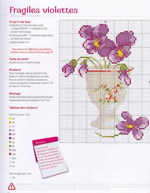 CREATION POINT DE CROIX 7 HELENE LE BERRE - Fragiles violettes
