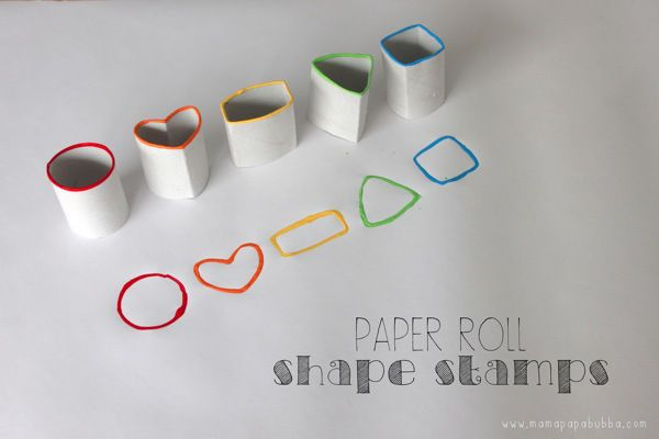 Paper Roll Shape Stamps  - Another sustainable craft activity using recycled paper rolls for shape stamps.