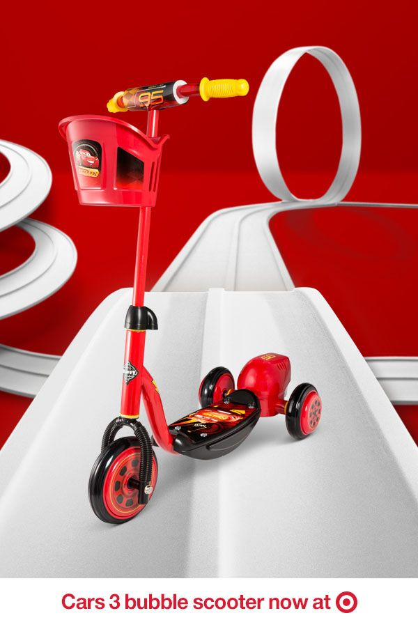 Scoot across the finish line in a flash with this Cars 3 three-wheeler. Extra style points for the bubble machine in the back. Now available at Target.