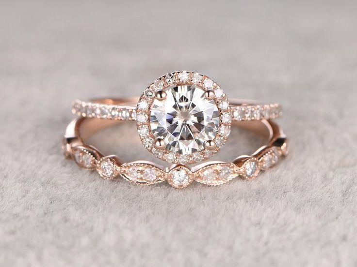 2 Moissanite Bridal Set,Moissanite Engagement ring Rose gold,Diamond wedding band,14k,6.5mm Round Cut,Art Deco eternity