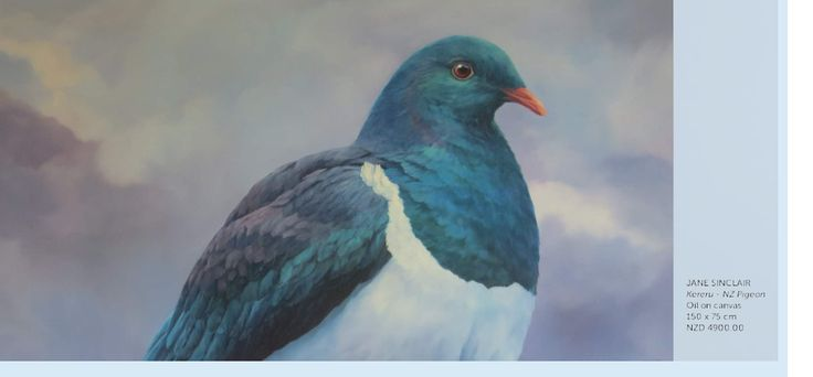 """Kereru - New Zealand Pigeon Oil on Canvas by Jane Sinclair  Come and meet some other Native's click to visit Jane's exhibition """"Birdsong"""" portrait's of New Zealand birds"""