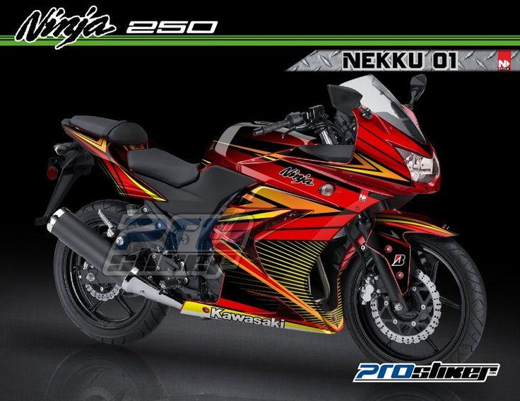 Modifikasi Ninja 250 Karbu Warna Merah Decal Modif NEKKU 01 Merah Full Body Prostiker