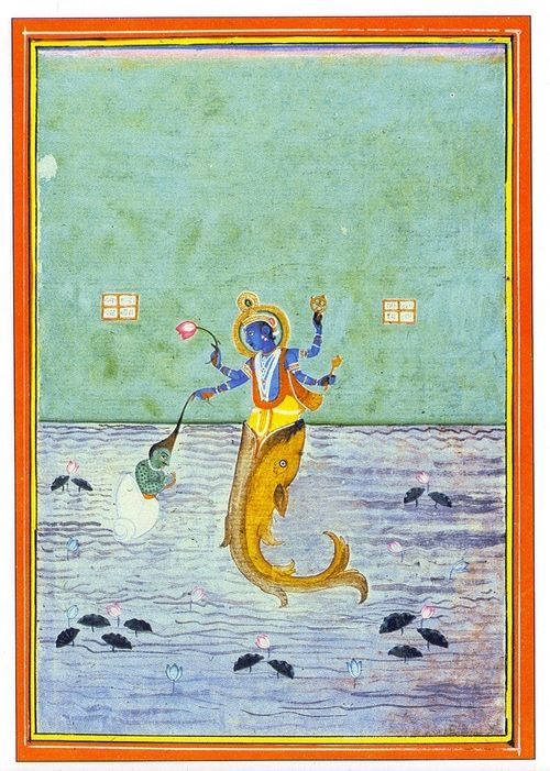 Matsya, the first avatar of Lord Vishnu, who appeared in the form of a fish.