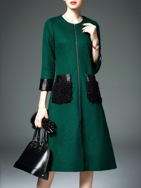 Pockets Zipper Wool Blend Coat