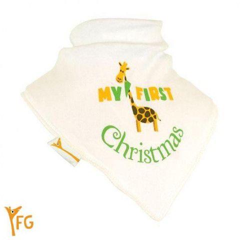 Baby Bandana Bib - White, Green & Yellow My First Christmas – Baby Luno