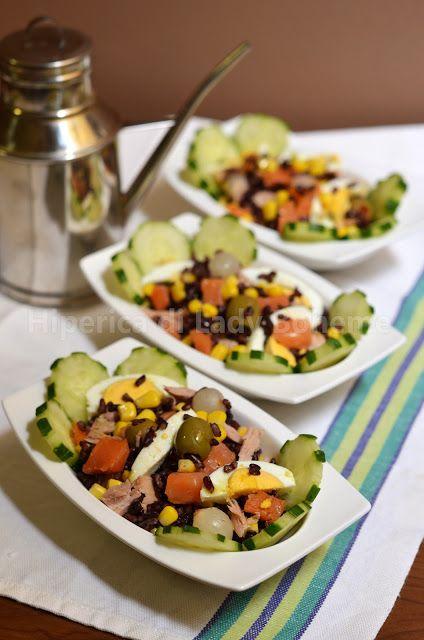 Insalata di riso venere con tonno e salmone affumicato (Black rice salad with…