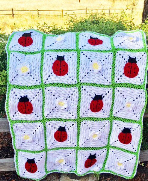 Ladybug crochet blanket Ladybug blanket Ladybug Afghan