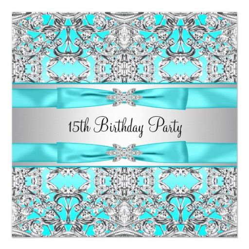 THE FINAL DECISION FOR BABEZ QUINCEANERA♥♥ Elegant Silver Teal Blue Quinceanera Custom Invitations $1.90