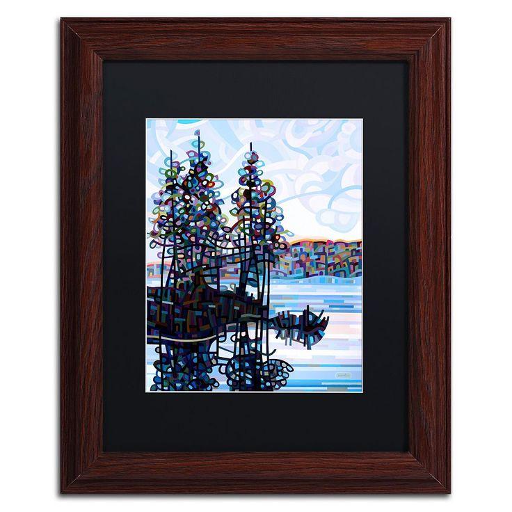 Trademark Fine Art Haliburton Morning Wood Finish Framed Wall Art, Blue
