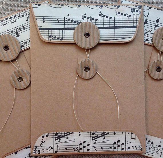 Handmade Coin Envelope/Vintage Music/Junk Journal/Gift Card