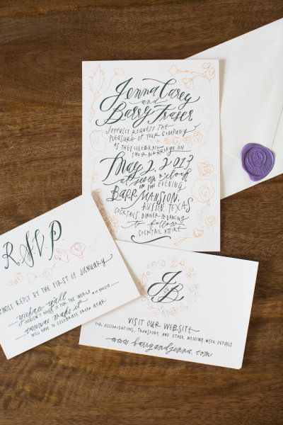 calligraphy invitations by http://feastcalligraphy.com, Photography by carolinejoy.com Read more - http://www.stylemepretty.com/2013/08/13/austin-wedding-from-the-nouveau-romantics-caroline-joy-photography/