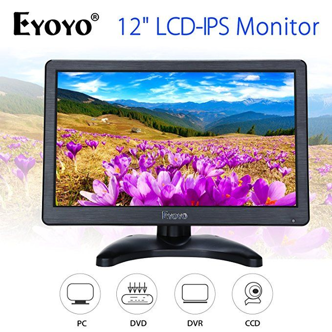 Eyoyo 12 Inch Hd 1920x1080 Ips Lcd Hdmi Monitor Screen Input Audio Video Display With Bnc Cable For Pc Computer Camera Dvd Securit Computer Camera Hdmi Monitor