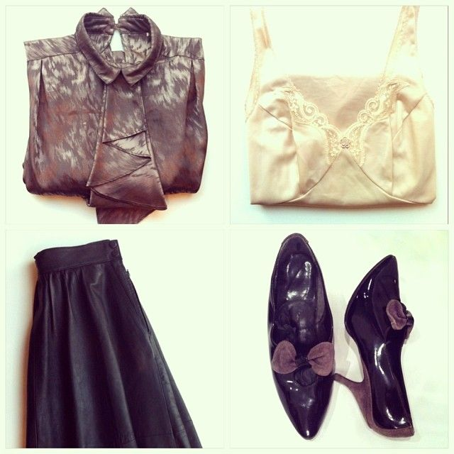 Vintage satin blouse, vintage underwear, vintage leather skirt, vintage patent stilettos. All awailable in Beware of Limbo Dancers... Find us on Facebook...