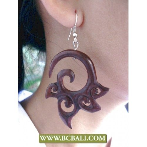 Balinese Woods Tribal Ear Carved - indonesia manufacture wooden earring from bali, fashion woods tribal earring, handmade balinese wooden earring carving, fashion shop online from bali indonesia