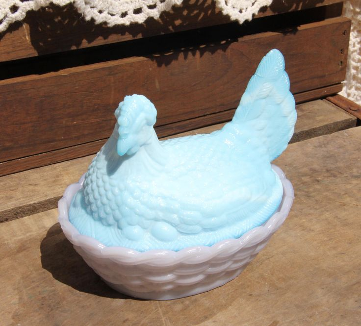 Blue Hen - Blue Chicken - Blue Glass - Purple Glass - Purple Hen - Purple Chicken - Hen on Nest - Slag Glass - Vintage - Salt - Sugar - Dish by SheLikesVintageCo on Etsy