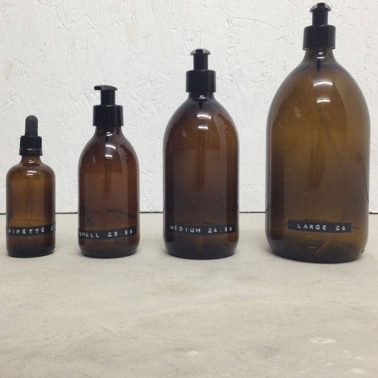 Amber apothecary bottle with pump top; ideal for de-cluttering the home. -1000ml with pump top