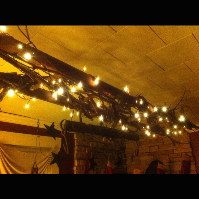 Wooden ladder wrapped with grape vines and rice lights suspended from  ceiling9 best grape vine projects images on Pinterest   Grape vines  . Grape Vine Lighting. Home Design Ideas
