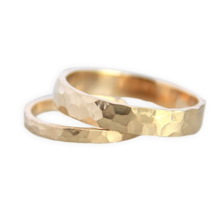 Hammered Gold Wedding Ring Set : Handmade Wedding Bands by TorchFire Studio