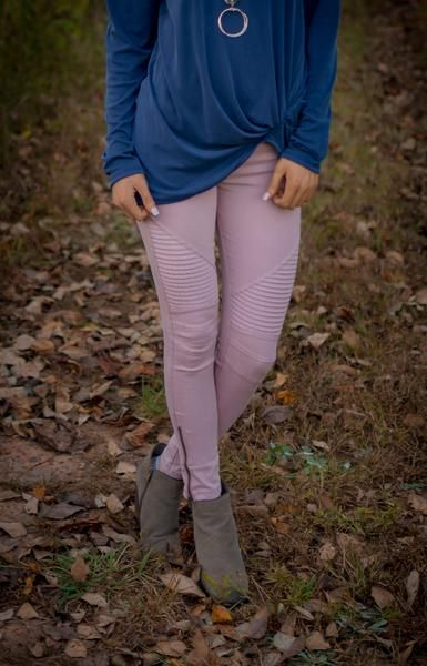 Dusty Pink Moto Jeggings. Fall Fashion trends from Blue Layne Boutique
