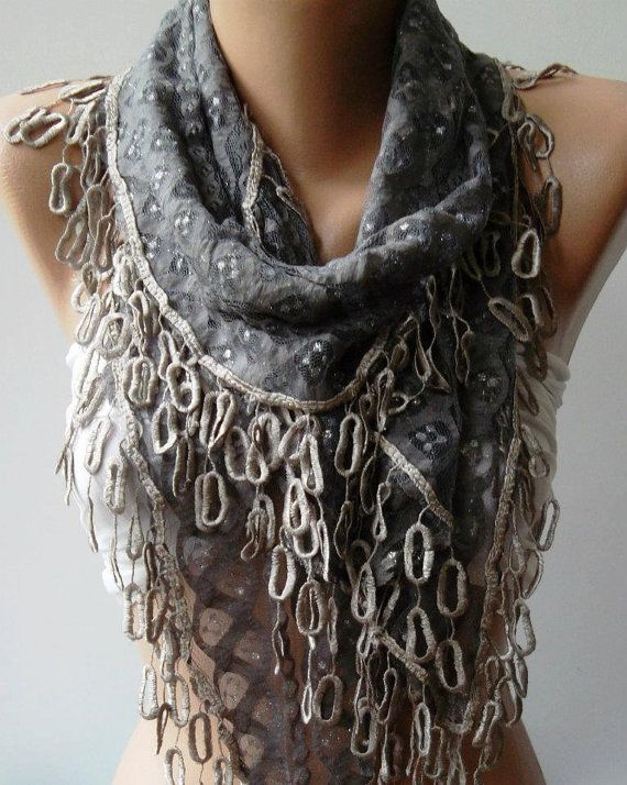 Grey  Lace and Elegance Shawl / Scarf  with Lace Edge