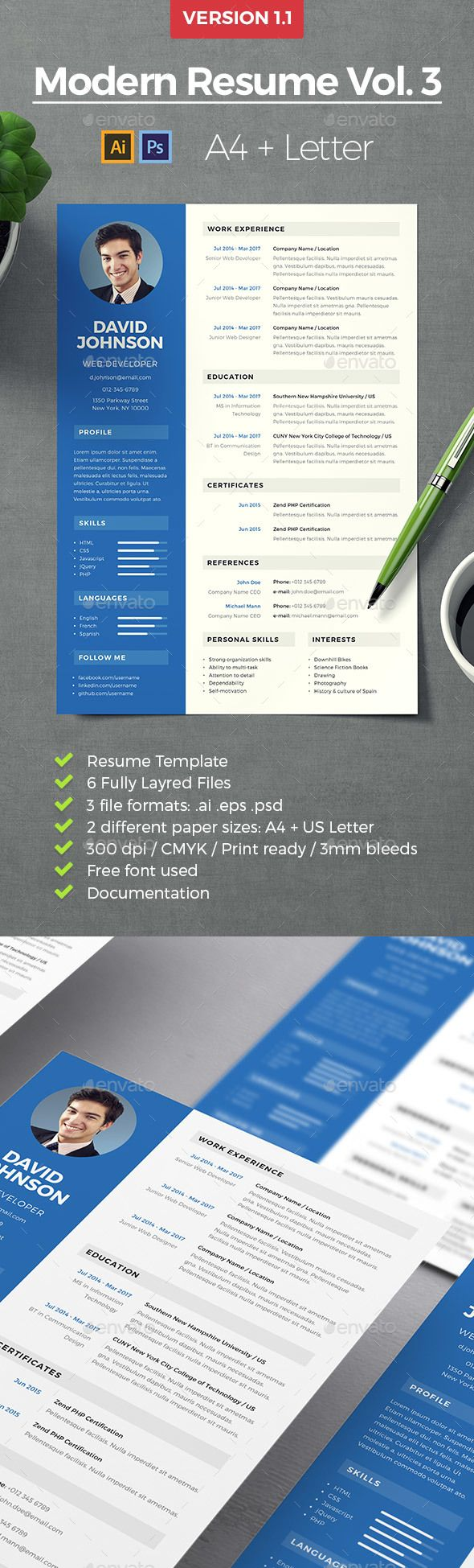 Modern Professional Resume Template Resumes Stationery