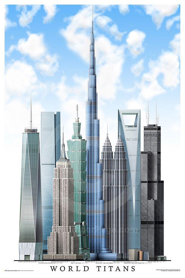 World's tallest skyscrapers: • Burj Khalifa, Dubai  • One World Trade Center, New York • Taipei 101, Taipei  • Shanghai World Financial Center, Shanghai • International Commerce Center, Hong Kong  • Petronas Towers, Kuala Lumpur • Willis Tower (Sears Tower), Chicago • Empire State Building, New York