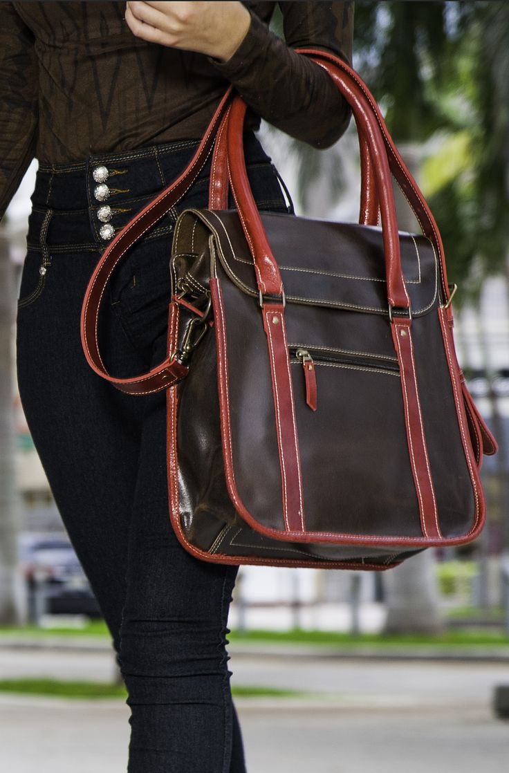 """PRODUCT INFO      This vintage style genuine leather handbag features:          * Magnetic and zipper closure         * Handmade         * Dimensions Length 12.6"""" Width 5.12"""" Height: 12.6""""         * 2 zipper compartments, one inside and outside, 2 inside pouches         * Long Adjustable Strap and Double Strap      Carry everything you could ever need on an everyday activity; tablet, wallet, keys, brush, make up, books."""