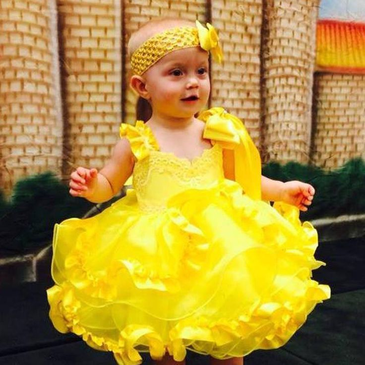 babydoll pageant dresses for toddlers | ... National Pageant Dress Decorated Natural BABY DOLL DRESS Yellow 3-4t