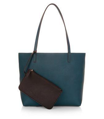 Green Reversible Shopper Bag    New Look