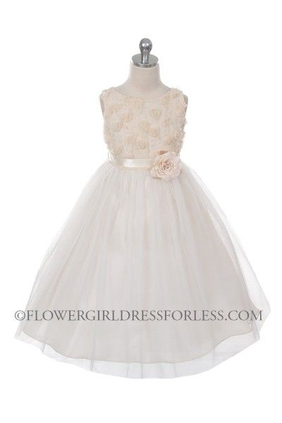 Flower Girl Dress Style 278 - CHAMPAGNE Sleeveless Tulle Dress with Mesh Rolled Flowers $36.99